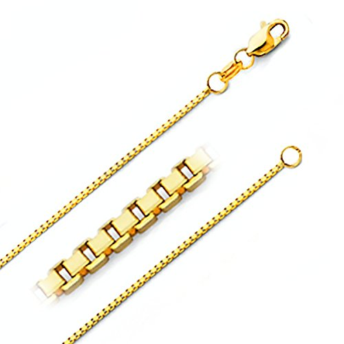 14k Gold Box Chain (14K Solid Gold 0.9MM Italian Diamond Cut Box Chain Necklace with Lobster Claw Clasp - FREE Gift w/Order (0.9 MM 22 Inches 14K Yellow Gold 22