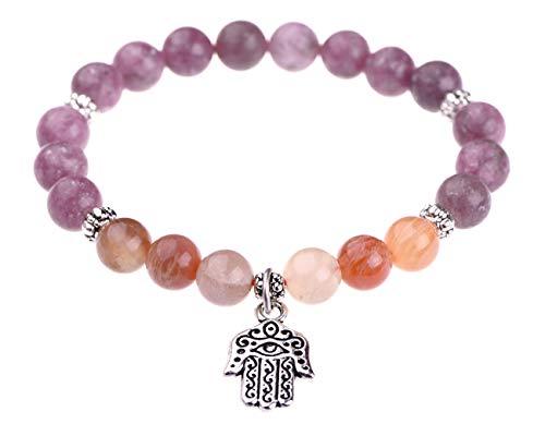 TamLyn Concepts Charm Bracelet - Lepidolite - Hamsa Bracelet - Protection Amulet - Evil Eye Bracelet - Stretch 8mm Beads Talisman