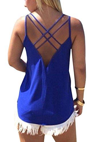 YOINS V Neck Lace Details Vest Blouse Basic Womens Camis Tanks Top Vest PMC-Blue XS