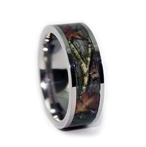 #1 Camo Flat Titanium Rings - Camouflage Engagement Wedding Band - Ring Size 6