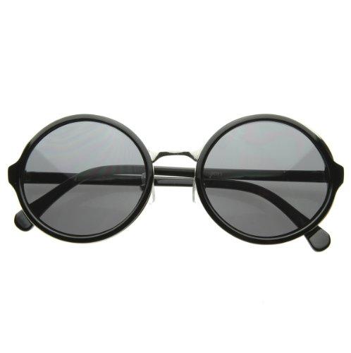 zeroUV - Vintage Inspired Classic Round Circle Sunglasses w/ Metal Bridge - Bridge Size Sunglass