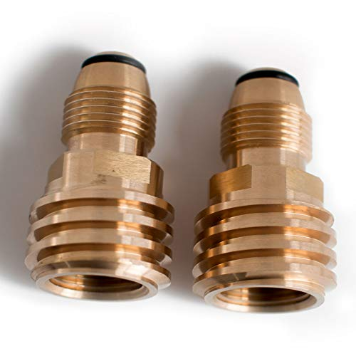 Tircuger Propane Tank Adapter Converts POL LP Tank Service Valve to QCC1/Type1 Hose or Regualtor - Old to New (2 Pack)