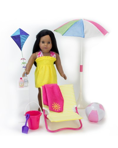 18 Inch Sophia's Doll Beach 10 Pc. Set of Pretend Play Doll Sun Umbrella, Kite, Towel, Beach Ball, Bucket, Shovel, Sunscreen, Water Bottle & Lounge Chair, for American Dolls & More! Doll Furniture Set