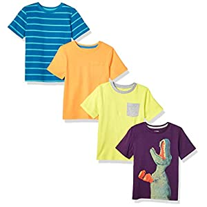 Amazon Brand – Spotted Zebra Boys' Toddler & Kids 4-Pack Short-Sleeve T-Shirts