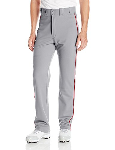 Piped Baseball Pants, Gray/Red, Medium (Gray Mens Baseball)