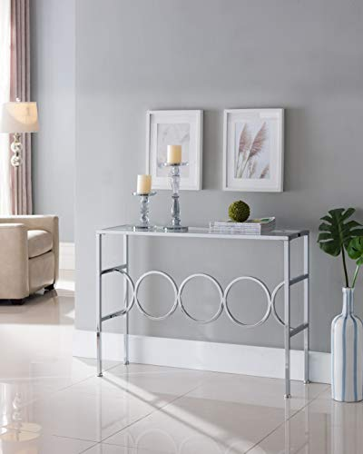 Chrome Finish Glass Contemporary Console Sofa Table with Circle Designs