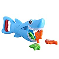 Shark Bath Toy,Gunel Fish Hunt Pool Game Toy for Kids Toddlers Cute Blue Shark with Teeth Biting Action,4 Toy Fish Included (Blue)