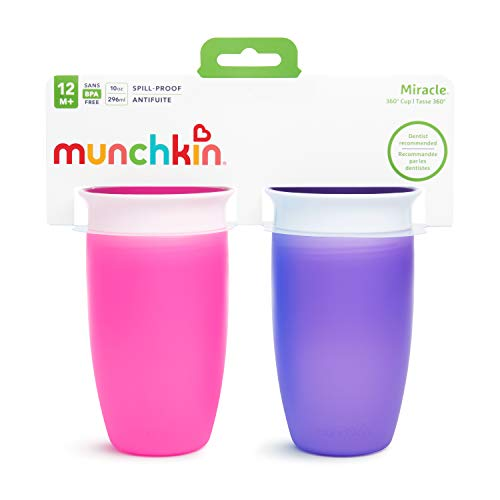 41XZ6esbUeL - Munchkin Miracle 360 Sippy Cup, Pink/Purple, 10 Oz, 2 Count