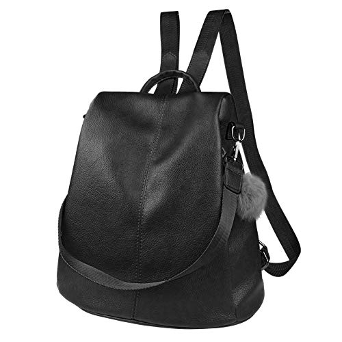 Handbag Backpack Style - Women Backpack Purse Waterproof Leather Anti-theft Fashion Casual Lightweight Travel Shoulder Bag (Black, Style One)