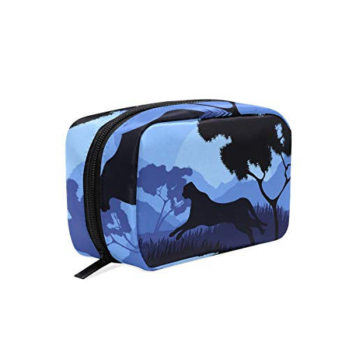 Senya Travel Cosmetic Bag Small Makeup Toiletry Bag Portable Carry Case Pouch Girls Women Personalized Organizer Tote Bag For Jewelry Toiletries Animated Cheetah Hunting Wild Nature -