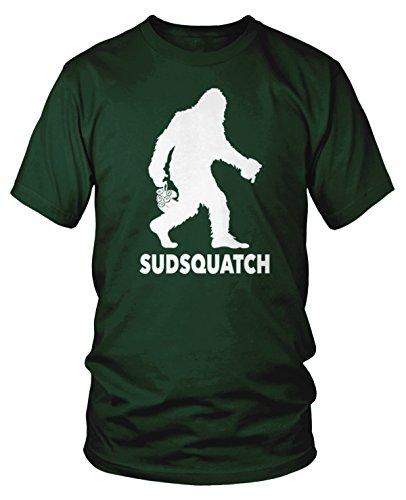 Amdesco Men's Sudsquatch, Sasquatch with Beer T-Shirt, Forest Green ()