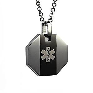 My Identity Doctor USA | Medical Alert Womens Mens Necklace Pendant | Free Custom Engraving Diabetes Warfarin Dialysis Stroke Pacemakers