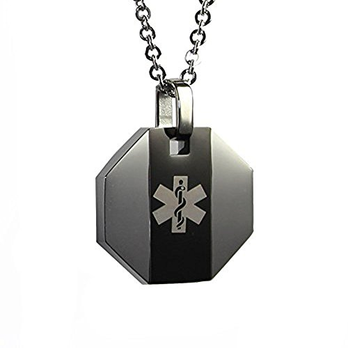 My Identity Doctor USA | Medical Alert Womens Mens Necklace with Pendant | Free Custom Engraving for Diabetes Warfarin Dialysis Stroke Pacemakers | Black Stripe, 316L Steel, 27in (68.5cm) Chain