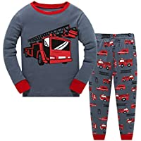 Little Boys Pajamas for Toddler Clothes Set Trian Truck Sleepwear Long Sleeve 100% Cotton 2 Piece Kids Pjs Size 1-7 Years