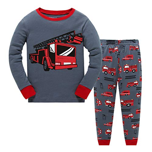 Little Boys Pajamas for Toddler Clothes Set Trian Truck Sleepwear Long Sleeve 100% Cotton 2 Piece Kids Pjs Size 1-7 - Pajamas 4 Set Boys Size