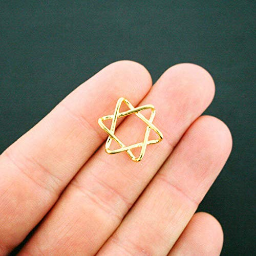 6 Star of David Connector Charms Gold Tone Jewelry Making Supply, Pendant, Bracelet, DIY Crafting and Other by Wholesale Charms