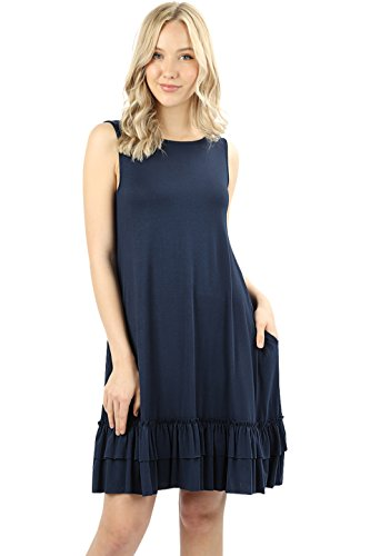 (Women Short Sleeve Comfy Middy Flare Ruffled Dress with Pockets (7022 Tank Navy, 3X))