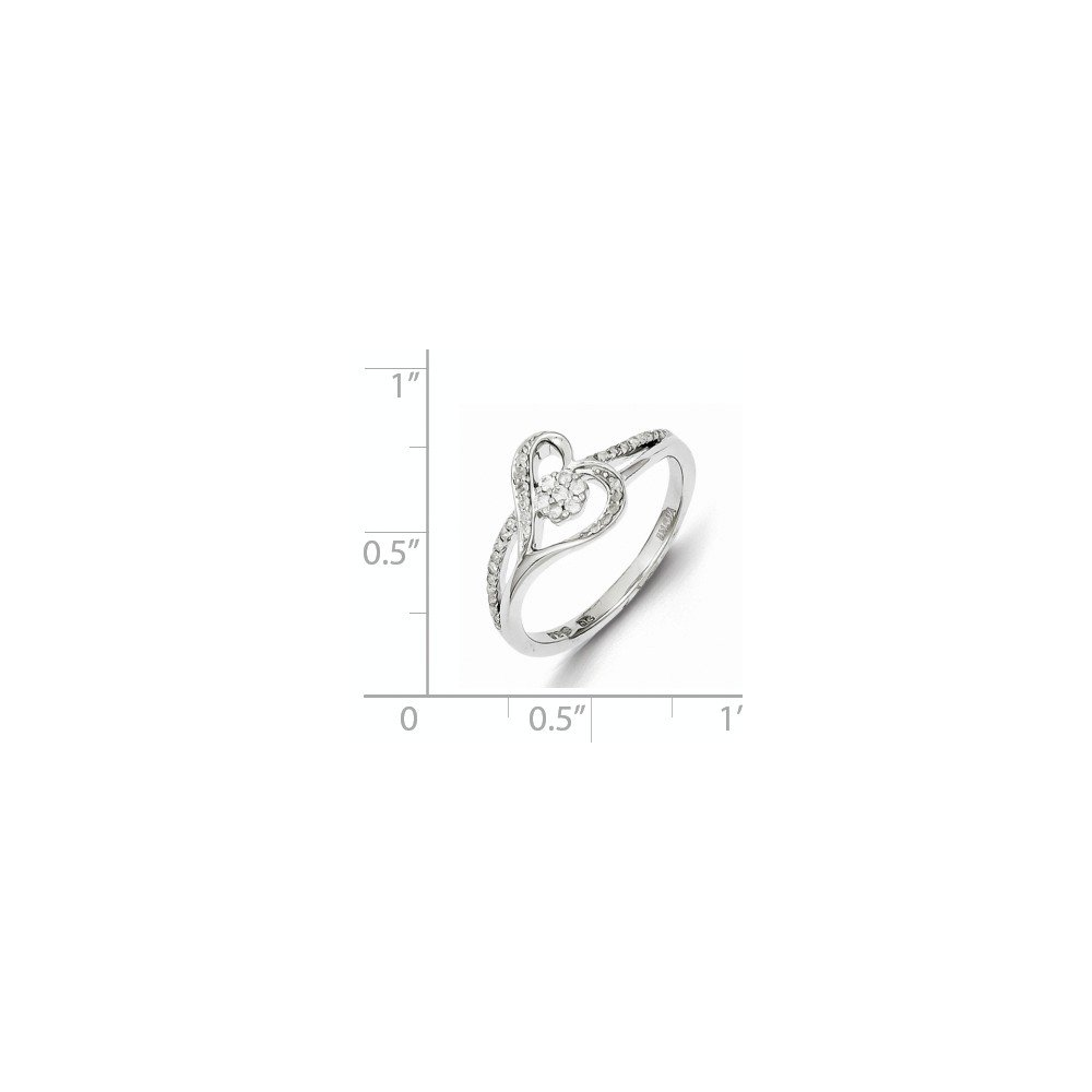 925 Sterling Silver Diamond Anniversary Ring for Women Size 7 (0.19ct, H-SI2)