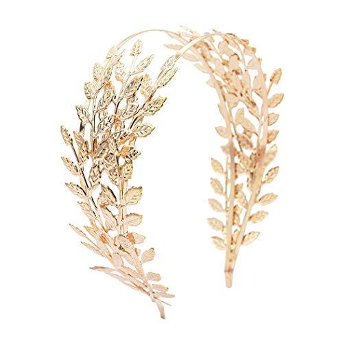 Ladovin Greek Roman Goddess Gold Leaf Crown Bridal Wedding Headband]()