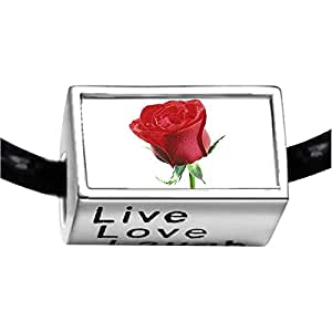 Chicforest Silver Plated Red Rose Photo Live Love Laugh Charm Beads Fits Pandora Chamilia Biagi Charm Bracelet