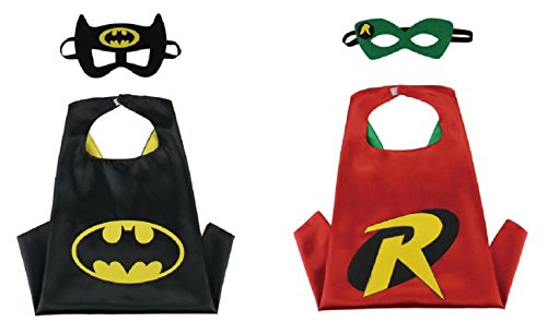 Honey Badger Brands Dress Up Comics Cartoon Superhero Costume With Satin Cape and Matching Felt Mask (Batman + Robin) (Batman And Robin Robin Costume)