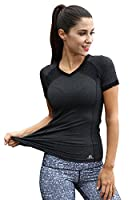 Women's Short Sleeve Workout Tee Yoga Running Biking Sports T-Shirt Fast Dry