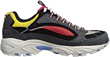Skechers Men's Stamina Cutback Trainers, Grey (Charcoal Leather/Mesh/Red Trim Ccrd), 6.5 (40 EU)