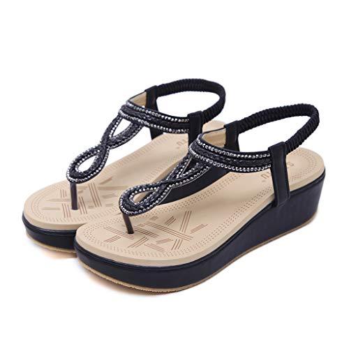 Cenglings Sandals,Women's Clip Toe Flip Flops Beach T-Strap Wedges Sandals Casual Platform Slingback Rhinestone Shoes Black