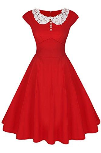 ACEVOG Women's Ladys 1950s Rockabilly Cap Sleeve Swing Vintage Dress,Red,XX-Large