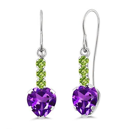 Gem Stone King 1.60 Ct Heart Shape Purple Amethyst Green Peridot 925 Sterling Silver Earrings