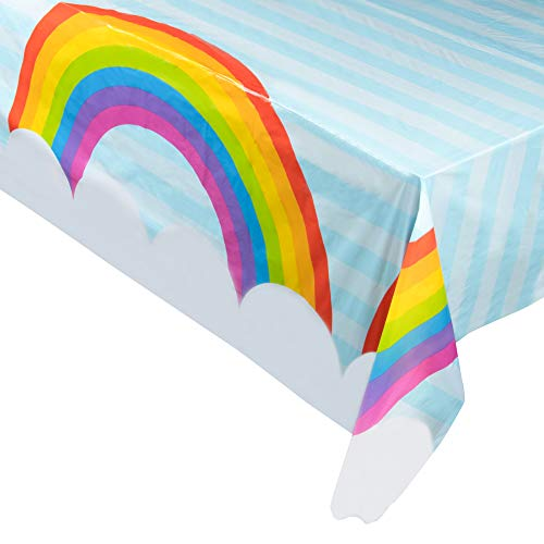 Juvale 3-Pack Rainbow Plastic Tablecloth - Rectangle 54