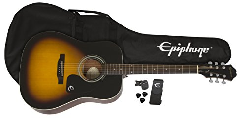 Epiphone FT-100 Acoustic Guitar Player Pack (Gigbag, Strap, Picks, and Tuner) - Vintage Sunburst