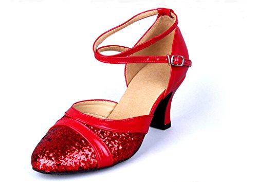 Scarpe Da Ballo Di Tango Latino Vernice Scintillante Femminile Cinturini In Pelle Tacco Medio (5, Rosso)
