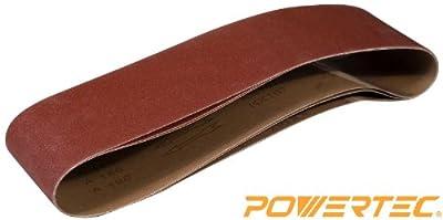 POWERTEC 110143 4-Inch x 36-Inch 150 Grit Aluminum Oxide Sanding Belt, 3-Pack by POWERTEC