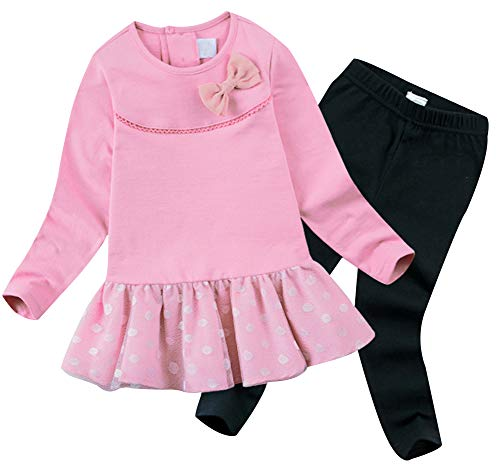 Price comparison product image BomDeals Cute Cat Elephant Print Toddler Baby Girls Clothes Set, Long Sleeve T-Shirt +Pants Outfit (Age(3T),  Pink-101)