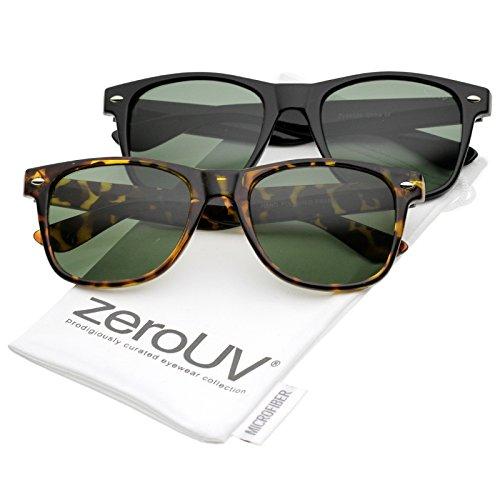 zeroUV - Retro Wide Arm Square Impact Resistant Glass Lens Horn Rimmed Sunglasses 55mm (2 Pack   Tortoise + - Or Black Tortoise Frames