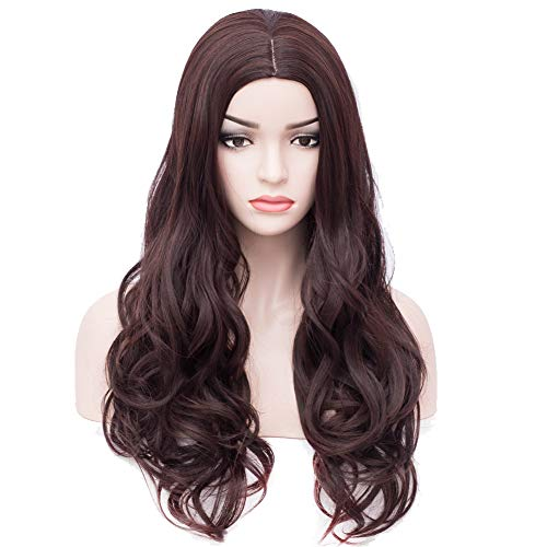 BERON Long Wavy Charming Full Synthetic Wigs for Women Girls Natural Curly Wigs with Wig Cap -