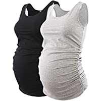 Liu & Qu Maternity Basic Tank Top Mama Clothes Neck Sleeveless Tops Women's Solid Side Ruching Vest