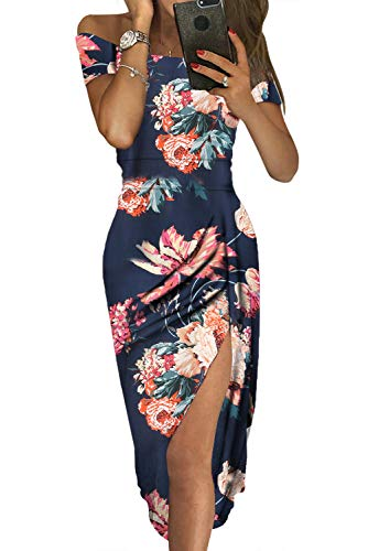 (Women Summer Off The Shoulder Floral Short Sleeve Ruch Wrap Split Front Cocktail Party Dress Blue)