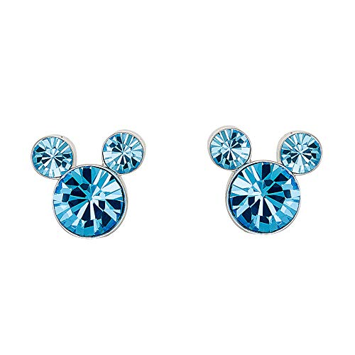 Disney Mickey Mouse Birthstone Silver Plated Stud Earrings, March Aquamarine Light Blue ()