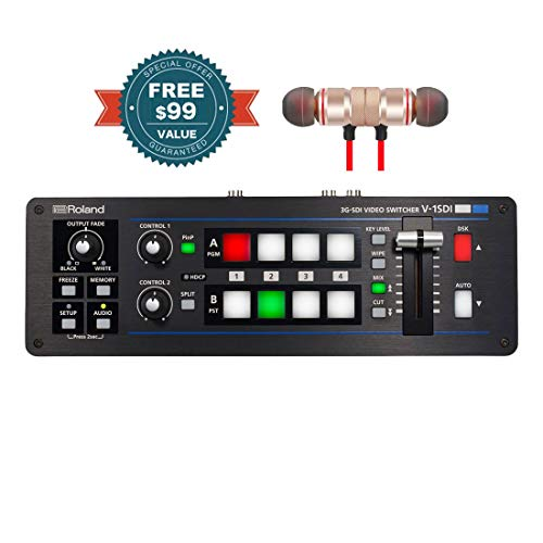 Roland V-1SDI 3G-SDI Video Switcher Includes Free Wireless Earbuds - Stereo Bluetooth in-Ear Earphones