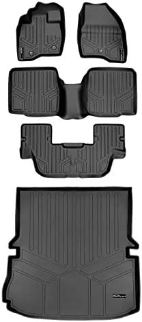 MAXLINER Floor Mats 3 Rows and Cargo Liner Behind 2nd Row Set Black fro 2011-2014 Ford Explorer W/O 2nd Row Center Console