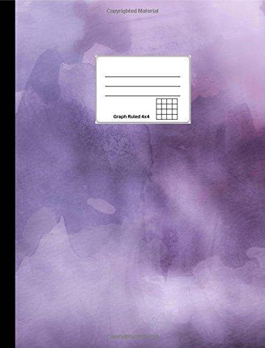 "Read Online Purple Watercolor Composition Notebook: Graph Ruled 4x4, 100 sheets/200 pages, 9 3/4"" x 7 1/2"" (24.7 cm x 19 cm) pdf epub"