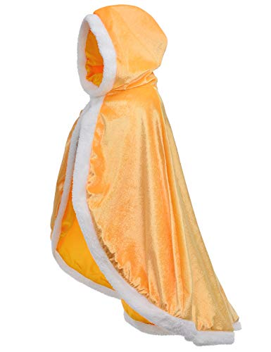 Fur Princess Belle Cape Fur Hooded Cloaks Costume for Girls Dress Up Yellow 6-7 Years(130cm)
