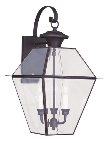 - Livex Lighting 2381-07 Westover 3-Light Outdoor Wall Lantern, Bronze