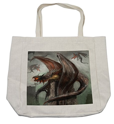 (Lunarable Fantasy World Shopping Bag, Mythical Dragons Fire-Spewing Reptilian Serpent Beast Animal Monster, Eco-Friendly Reusable Bag for Groceries Beach Travel School & More, Cream)