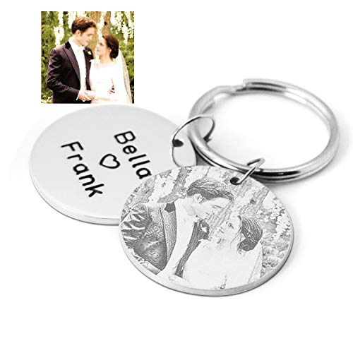 (Custom Photo Keychain,Engraved Name Photo Keychain,Anniversary Gift for him,Picture Key Ring,Gift for Boyfriend Husband )