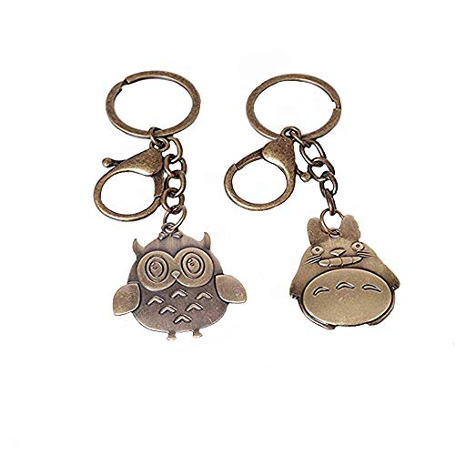 (Cute Owls and beavers Keyring Antique Copper Plated Solid Brass Keychain Decor Vintage Pendant Charms for Diy Jewelry Making)