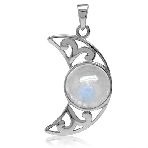 10MM Natural Moonstone White Gold Plated 925 Sterling Silver Filigree Crescent Moon Pendant (Moonstone Filigree)