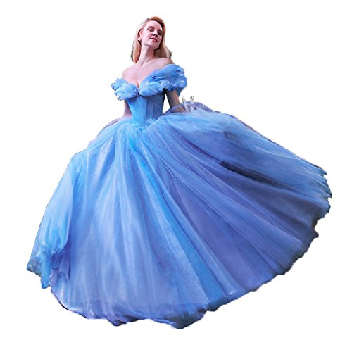 Vnaix Ball Gown Royal Blue Princess Cinderella Quinceanera Dresses(14, Blue)